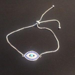 Sterling Silver - evil eye toggle bracelet